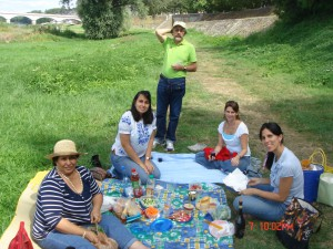 Maria with Raul's family at a picnic