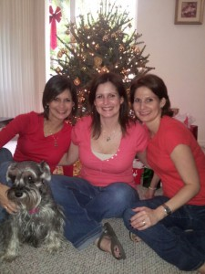 Maria with her sisters at a Christmas family reunion